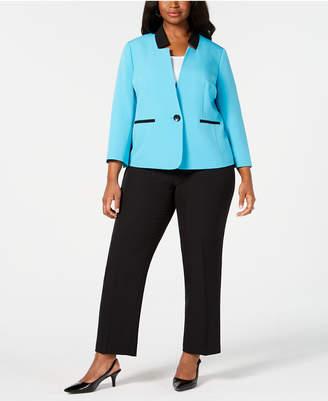Le Suit Plus Size Contrast Single-Button Suit