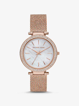 Michael Kors Oversized Darci Pave Rose Gold-Tone and Mesh Watch - Rose Gold
