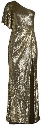 Mac Duggal Sequin One-Shoulder Gown