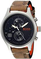 HUGO BOSS BOSS Orange Men's 'Amsterdam' Quartz Stainless Steel and Leather Casual Watch, Color:Grey (Model: 1550021)