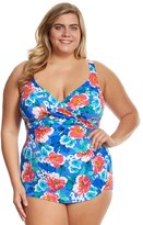Penbrooke Plus Size Garden Beauty Cross Over Sarong One Piece Swimsuit 8150471