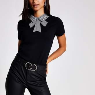 River Island Womens Black houndstooth embellished collar T-shirt