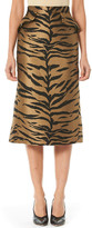 Carolina Herrera Tiger-Stripe Jacquard Midi Skirt