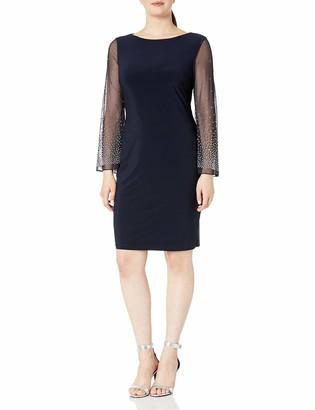 Cachet Women's Long Shear Sleeve with Beaded Detail Short Dress