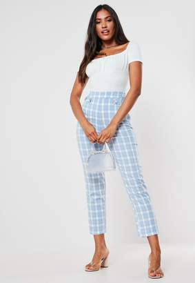 Missguided Blue Check Button Front Slim Leg Trousers