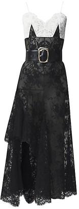 Alexander McQueen Bi-Color Dart Lace High-Low Dress