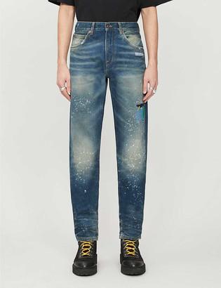 Off-White Slim-fit paint-splattered jeans
