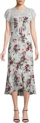 Marissa Webb Imani Print & Lace Dress