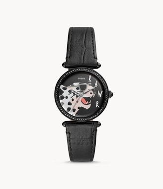 Fossil Lyric Three-Hand Black Leather Watch jewelry