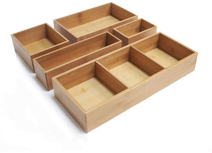 Seville Classics Bamboo Storage Box Drawer Organizer Set With 3 Compartment Organizer Box, 5 Piece Set