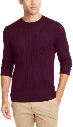 Club Room Men Cotton Cable Crewneck Sweater