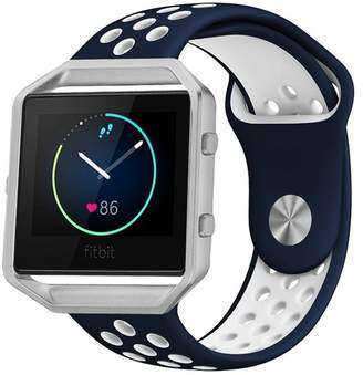 Fitbit POSH TECH Large Silicone Band with Silver Frame for Blaze - Blue/White