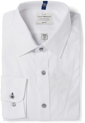 Lucky Brand White Oxford Slim Fit Dress Shirt