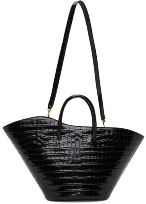 Little Liffner Black Croc Medium Open Tulip Tote