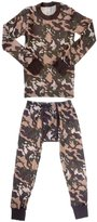 Platinum Junior Boy's Camouflage 2 Piece Thermal Long Sleeve and Pant Underwear Set (Green,)