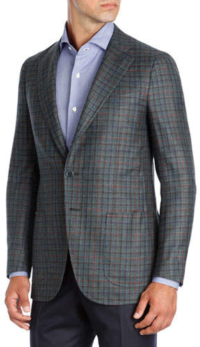Isaia Multi-Check Wool-Cashmere Two-Button Sport Coat