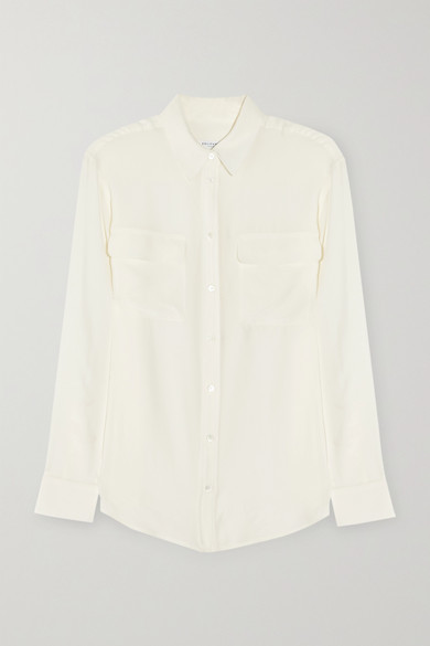 Equipment Signature Washed-silk Shirt - Off-white