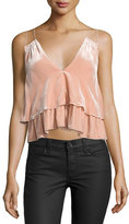 Apiece Apart Sandro Ripple-Print Tiered Slip Top, Pink
