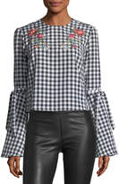 Haute Rogue Embroidered Gingham Blouse