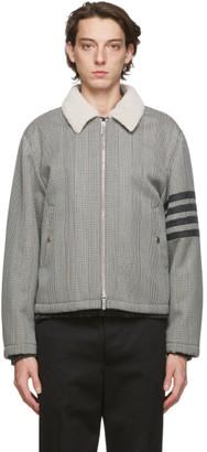 Thom Browne Black and White Shearling 4-Bar Flight Jacket