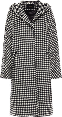Maje Gingham Wool-blend Felt Hooded Coat