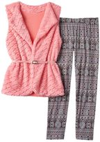 Knitworks Girls 7-16 Textured Scale Faux-Fur Vest & Patterned Leggings Set