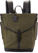 Cole Haan Leather-Trim Canvas Messenger Backpack, Olive