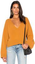 Nude Deep V Neck Sweater in Burnt Orange