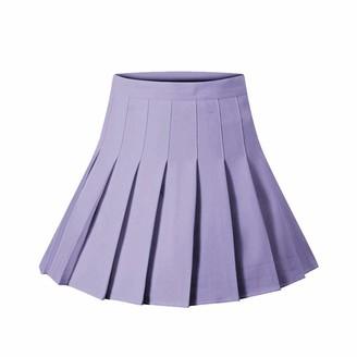 Qtinghua Women Solid Color High Waist Pleated Skirt Mini Dress Fashion A-line Skirt (Light Purple M)