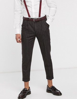 Shelby & Sons tapered fit smart pant with turn up leg and single pleat in brown pinstripe