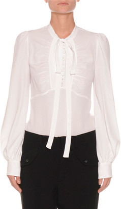 No.21 Tie-Neck Shirred Button-Front Long-Sleeve Silk-Blend Blouse