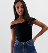 Asos Tall DESIGN Tall off shoulder bodysuit with wrap front and short sleeve in black