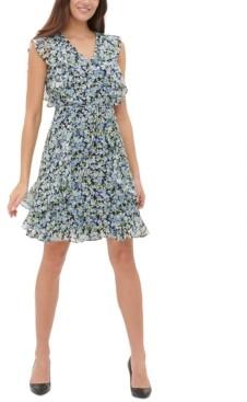 Tommy Hilfiger Petite Ruffled Chiffon Fit & Flare Dress