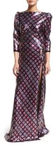 Marc Jacobs 3/4-Sleeve Embellished Open-Back Gown, Navy