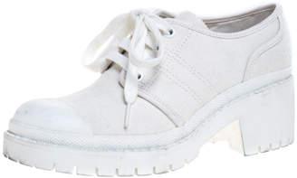 Marc Jacobs White Canvas Bond Army Platform Sneakers Size 38
