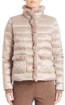 Max Mara Ape Rabbit Fur-Trim Down Puffer Jacket