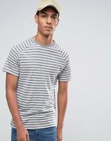 Celio Crew Neck Stripe T-shirt With Raglan Sleeve In Linen Mix