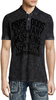 PRPS Flocked-Logo Faded Polo Shirt, Black