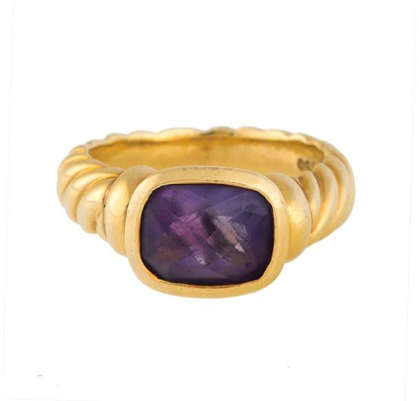 David Yurman 18K Yellow Gold with Amethyst Noblesse Ring Size 7.25