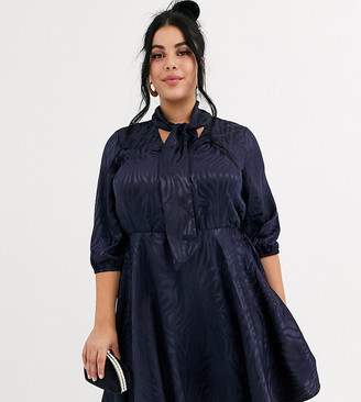 Simply Be skater dress with pussybow in navy jacquard