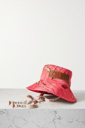 Loewe + Paula's Ibiza Leather-trimmed Printed Cotton-twill Bucket Hat - Pink