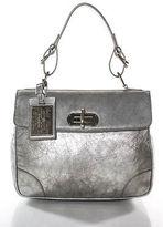 Ralph Lauren Silver Leather Tiffin Satchel Gold Hardware Medium Handbag