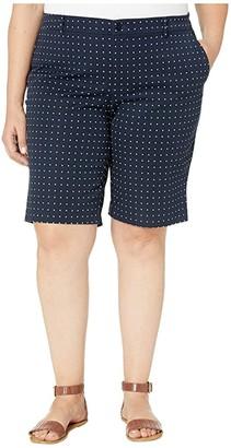 Lauren Ralph Lauren Plus Size Stretch Cotton Twill Bermuda Shorts (Lauren Navy/Silk White) Women's Shorts