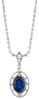 Downton Abbey Crystal Oval Drop Necklace