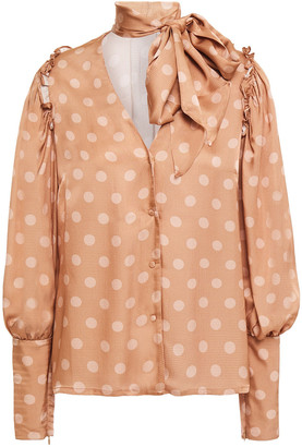 Mother of Pearl Clara Pussy-bow Polka-dot Hammered-satin Blouse