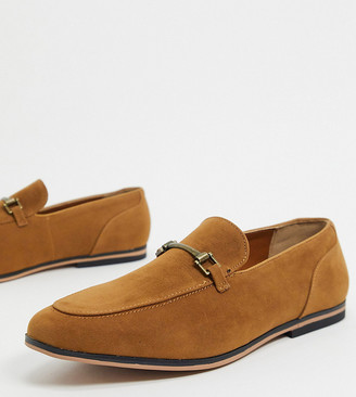 ASOS DESIGN Wide Fit loafers in tan faux suede with snaffle