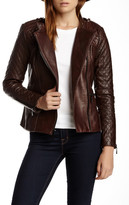 Vince Camuto Quilted Moto Genuine Leather Jacket