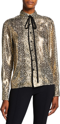 Victoria Beckham Contrast Tie-Neck Metallic Button-Down Shirt