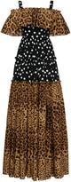 Dolce & Gabbana Off-The-Shoulder Leopard and Polka-Dot Dress