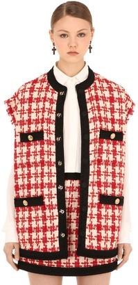 Gucci Oversize Bicolor Wool Blend Tweed Vest